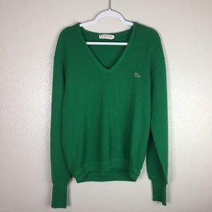 Lacoste vintage green vneck, sweater.